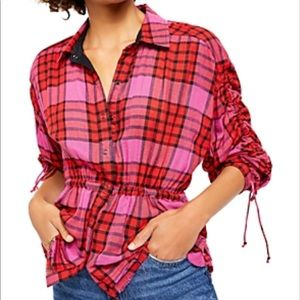 We the Free Plaid Released Trim Button-Down Top M